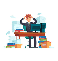 manager overworked office overwork unorganized vector image