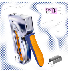Metal stapler for construction work and staples vector
