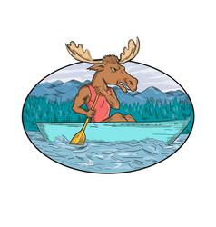 Moose paddling canoe drawing oval vector