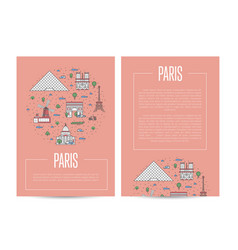 Paris city traveling advertising in linear style vector