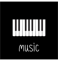 Piano Keys and white word Music Card vector image