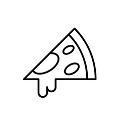 pizza slice outline icon on white icon vector image