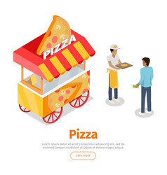 Pizza trolley in isometric projection style vector