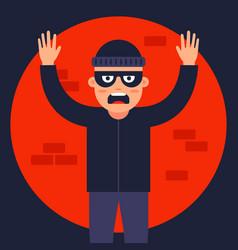 Police officer caught thief in spotlight vector