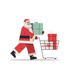 Santa claus in protective mask pushing trolley vector