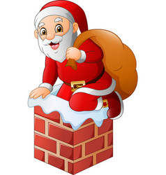 santa claus on the house roof chimney with bag of vector image