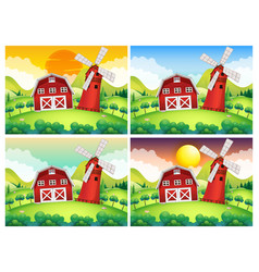 scene with barn and windmill at day and night vector image