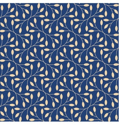Seamless leaves pattern on blue background vector