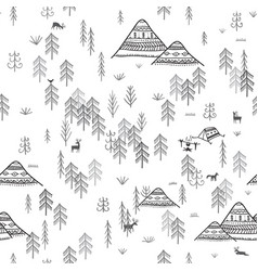 seamless pattern with forest mountains and camping vector image