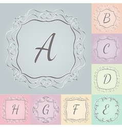 set 3d monograms hand drawn style colorful vector image