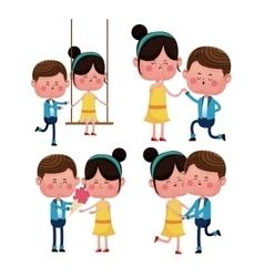 set couples love valentine day celebration vector image