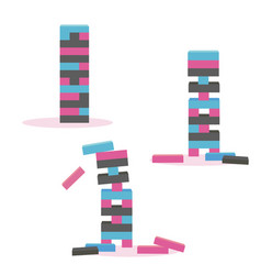 Set of tower game jenga wooden block game vector