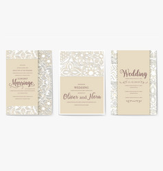 set of white wedding flyer pages ornament vector image