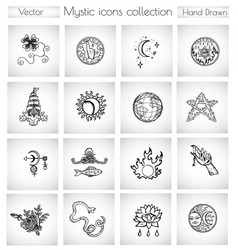 Set with mystic and esoteric icons and symbols vector