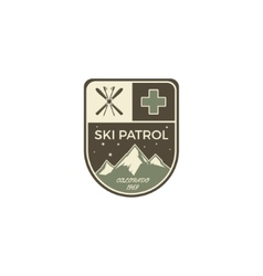 Ski patrol Label Vintage Mountain winter camp vector image