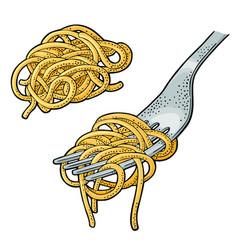 Spaghetti on fork vintage engraving black vector