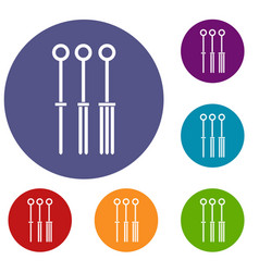 Tattoo needles icons set vector