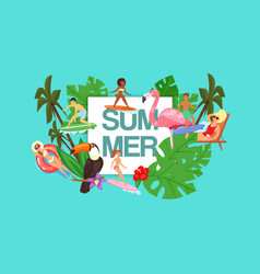 text summer tropical background for advertising vector image