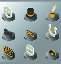 theatre color isometric icons vector image