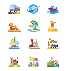 Travel holidays and vacation icons set vector image