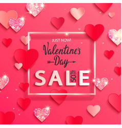 Valentines day sale banner with paper shiny vector