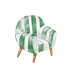 vintage armchair flat stylish vector image