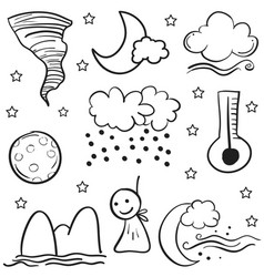 Weather set doodles vector