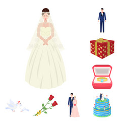 Wedding and attributes cartoon icons in set vector