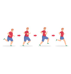 Weight loss stages running man healthy sport vector