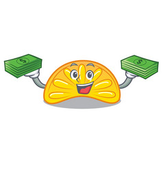 With money bag orange jelly candy mascot cartoon vector