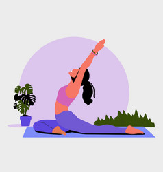 Young woman sits in a yoga pose and meditates vector