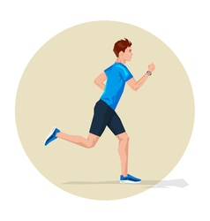 Active sporty young running man athlete with smart vector image
