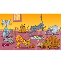 cats at home vector image