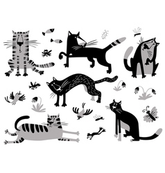 Cats set in childrens minimalistic style vector image
