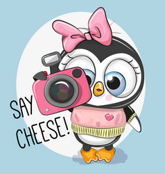 cute cartoon penguin with a camera vector image