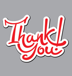 lettering sticker thank you vector image