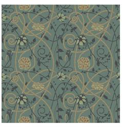 medieval flowers pattern dark vector image