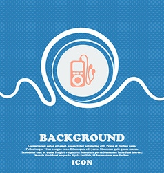MP3 player headphones music sign icon Blue and vector image