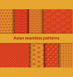 traditional asian seamless patterns set vector image