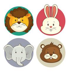 cute adorable animal icon set vector image