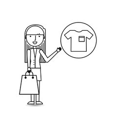 drawing girl shopping with clothes vector image vector image