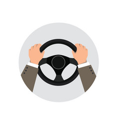 hands on the wheel of a car vector image