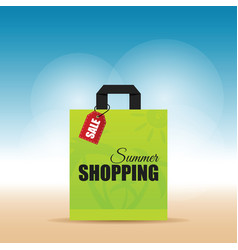 Paper bag green with summer shopping on it vector
