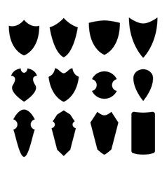 set of shield in silhouette style vector image