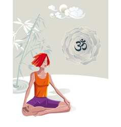 Woman Practicing Yoga Meditation vector image