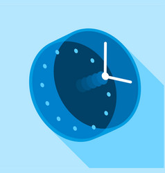 blue modern clock icon flat style vector image