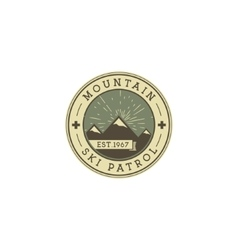 Camping Label Vintage Mountain ski patrol patch vector image vector image