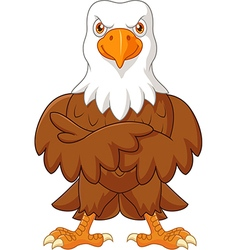 Cute eagle cartoon posing isolated vector image