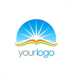 open book sun shine education logo vector image