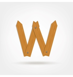 Wooden Boards Letter W vector image vector image